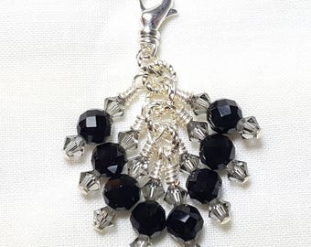 Black Diamond Onyx Black Crystal Zipper Pull Pendant