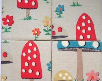 Handmade Set Of 4 Ceramic Coasters Cath Kidston Mushroom Drinks Mats Home Decor Housewarming Gift Christmas Present Shabby Chic Toadstool