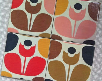 Handmade Set Of 4 Ceramic Coasters Orla Kiely Tulip Drinks Mats Mugs Home Decor Housewarming Gift Christmas Present Multi Stem