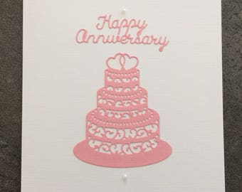Handmade Happy Anniversary Cake Card