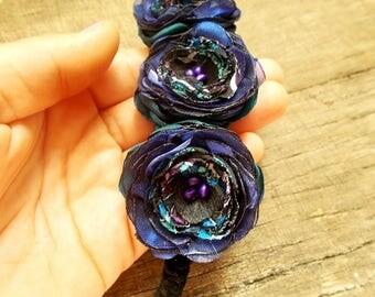 Special Handmade dark blue and green Flower bracelet, Flower Girl cuff, Dark green Bridesmaid bracelet, Romantic Bridal cuff