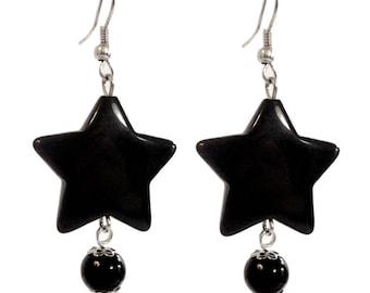 Women earrings pop 80s Tendance Black Star