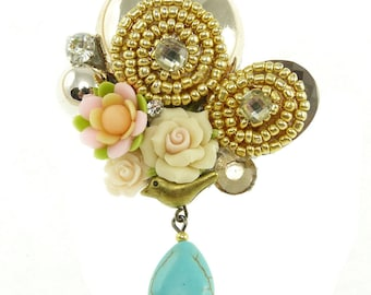 Brooch Shabby chic flowers fimo beads rhinestone crystal drop beige Blue Bird