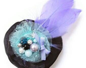 Cabaret style hair clip feather violet purple blue black
