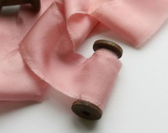 PINK Silk Ribbon, Hand Dyed Silk Ribbon, Blush pink ribbon, 2.5 yards, Bouquet Ribbon, Pink Silk Ribbon, Wedding styling, Gift wrapping