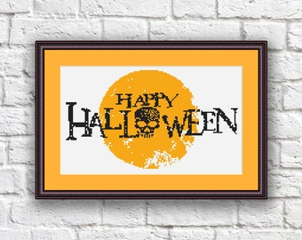 Happy Halloween Cross Stitch Pattern, Cool Cross Stitch Sampler, Halloween Patterns, Halloween Gift, Halloween Home Décor #hl002