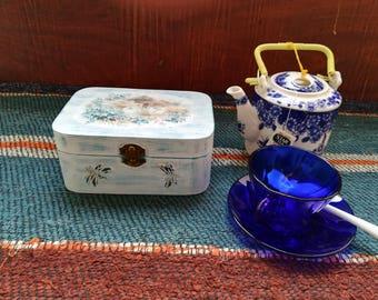 Tea Box Wood, Wooden Box, Wood Tea Box, Tea Box, Wooden Tea Box, Tea Box Vintage, Vintage Tea Box