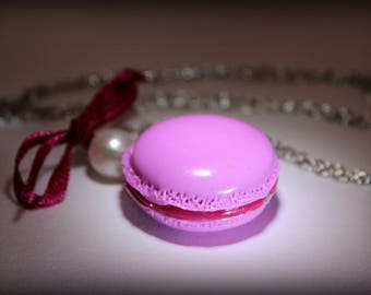 Necklace macaroon pink polymer clay