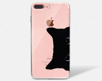 Black Kitty Cat Peek a Boo Eyes iPhone X Case iPhone 6 iPhone 7 iPhone 7 PLUS iPhone 6 PLUS iPhone 8 Transparent Samsung Galaxy S7 S8 Clear
