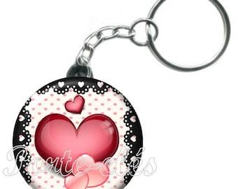 1 badge, heart, Valentine's day keychain