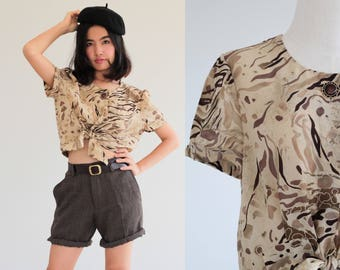 80s Safari tie waist CROP TOP short sleeves shirt in brown button up blouse  Retro Vintage Dress 1990s