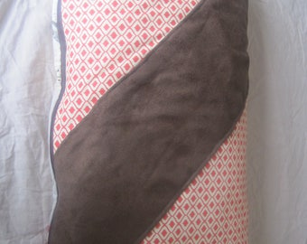 Linen pillow with a pattern of different colors on each side