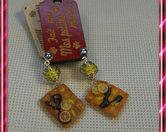 Waffle lemon for these earrings in polymer clay