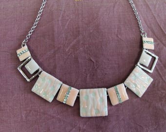 White and pink enamel tones abstract patterns necklace