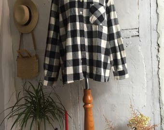 Vintage Checked Wool Oversized Shirt