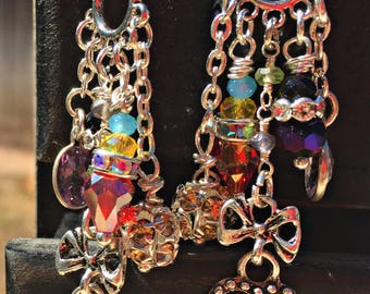 Repurposed using various swarovski crystals, amithyst, rosary beads & multicolored roundel earrings handmade 1-of-a-kind