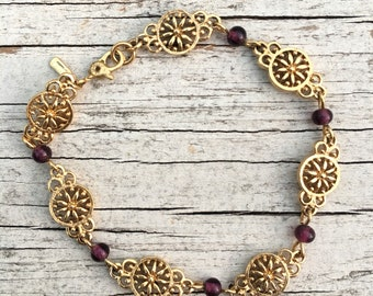 Vintage Gold Floral Purple Beaded Bracelet