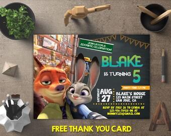 Zootopia Invitation, Zootopia Birthday, Zootopia Invites, Zootopia Printables, Zootopia Party, Zootopia Theme, FREE 4x6 Thank You Card