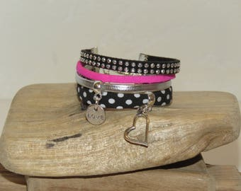 """Cuff Bracelet for girl """"rock 'n' roll"""" leather, suede, and bias peas black bench."""