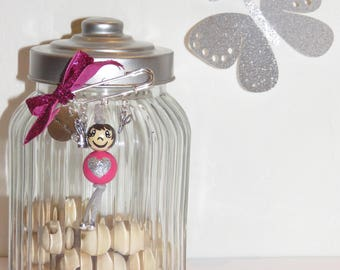 "brooch, bag charm, great home, ""smile ball"" character entirely handpainted on wood beads, craft, home gift idea"