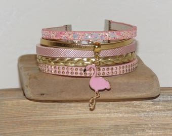Pastel pink Cuff Bracelet, gold, pink leather, suede, glitter, Flamingo charm, bird, women bracelet, gift idea,