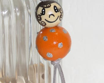 "Keychain doll with wooden beads, bag charm, ""smile ball"" fully customizable and hand painted, orange color"