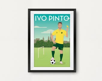 Retro Norwich Player Poster. Ivo Pinto. Carrow Road. Travel Poster Style. Fan Art