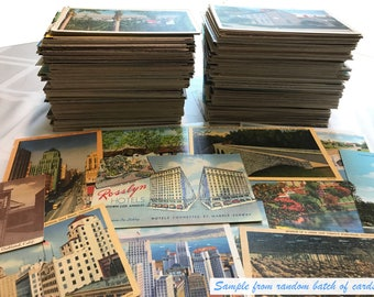Antique and vintage postcards - random lot of 20 - from the United States (1920s through '80s) Genuine Originals, various states & U.K.