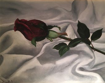 Red Rose in Oil on Canvas