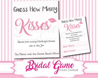 SALE: Guess How Many Kisses, Bridal Shower Printable, Pink Bridal Shower Games, Wedding Shower Guessing Activity Instant Download, Kisses