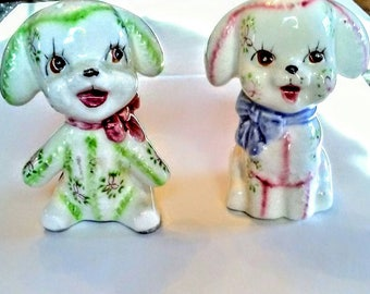 Puppy salt and pepper shakers from Japan. Ceramic kitchen decor