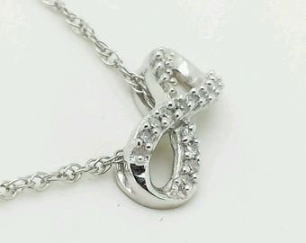 10k Solid White Gold Diamond Infinity Necklace Pendant Chain .10 CTTW