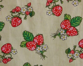 reserved fabric printed cotton strawberries antlers
