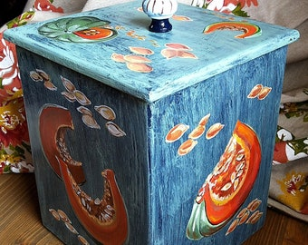Box, Wooden box, Storage box for pumpkin seeds,Timber box, Food storage container, Box for a seeds, Kitchen box