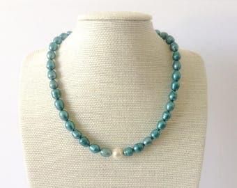 Electric Blue Pearl Choker / Pearl Choker / Freshwater Pearl Choker / Freshwater Pearls / Pearls / Choker / Chokers