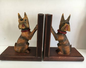 Scottie Terrier Dog Carved Wooden Bookends 1960s