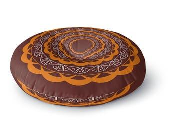 Brown Mandala Round Floor Pillow