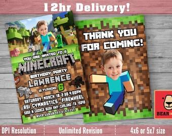 Minecraft Invitation with Custom Face and FREE Thank you card! Minecraft Birthday Invitation, Birthday Invitation Minecraft, Minecraft