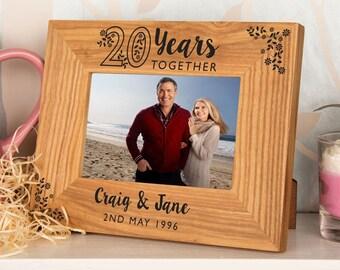 20th Anniversary Oak Photo Frame - Personalised Wooden Picture Frame, Anniversary Gifts, Wooden Anniversary Frame