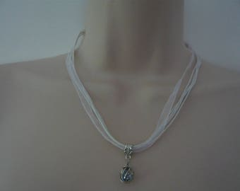 Ribbon necklace and pendant silver and blue waxed cotton