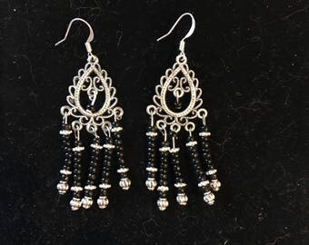 Black bead chandelier earrings