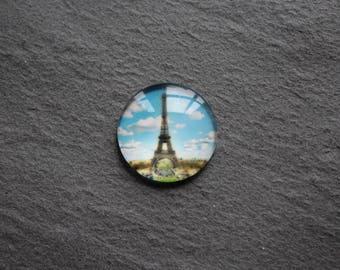 Cabochon 20 mm glass, Paris, eiffel tower
