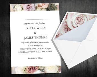 A6 floral rose wedding invitations