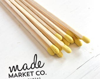 Yellow Colored Tip Matches. Match Sticks Refills Unbottled 50 Count. Farmhouse Unique Home Decor Gifts for Her Best Seller Most Popular Item