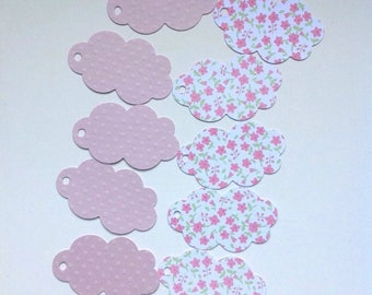 10 tags in light pink clouds and flowers