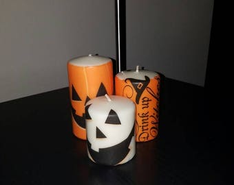 Decorative Fall - Halloween handmade candles (set of 3)