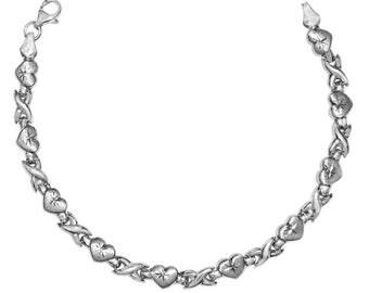 14k White Gold Diamond-cut Heart Bracelet