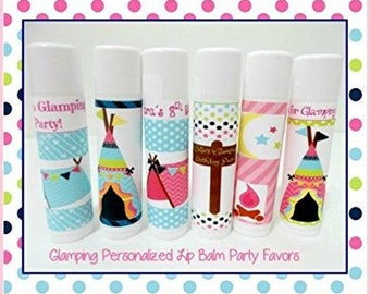 Glamping Lip Balm Party Favors - Glamping Personalized Lip Balm -  Girls Glamping Party Favors - Free Personalization - Set of 10