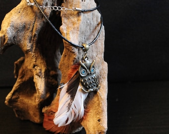 OWL necklace vintage OWL and feather
