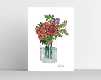 A4 coloured flowers in vase print
